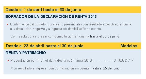 fechas renta 2013